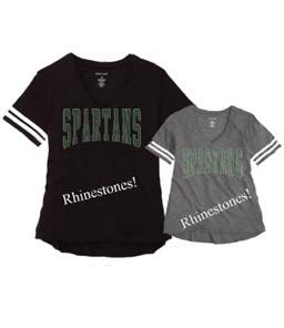 Slub Tee with Rhinestones (Black or Grey v-neck with white stripes on sleeves)