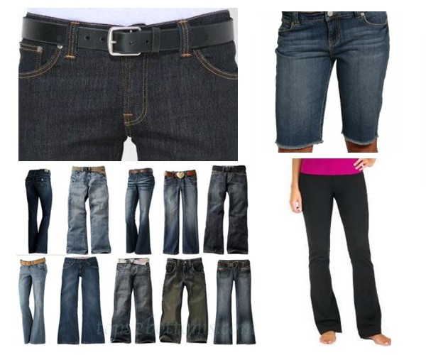 Jeans with belt, denim shorts with hem at knee, varying styles of long pants without holes or decoration