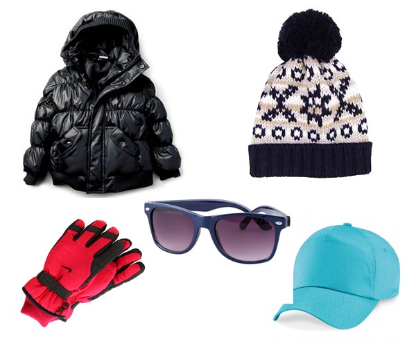 Puffy jacket, winter gloves, sunglasses, knitted beanie, baseball cap